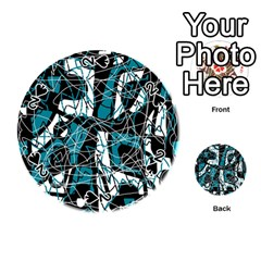 Blue, black and white abstract art Playing Cards 54 (Round)  by Valentinaart