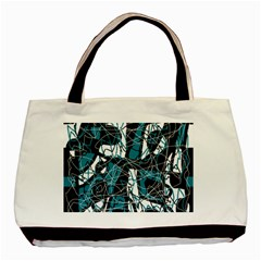 Blue, Black And White Abstract Art Basic Tote Bag (two Sides) by Valentinaart
