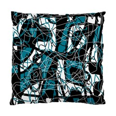 Blue, Black And White Abstract Art Standard Cushion Case (one Side) by Valentinaart