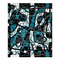 Blue, Black And White Abstract Art Shower Curtain 60  X 72  (medium)  by Valentinaart