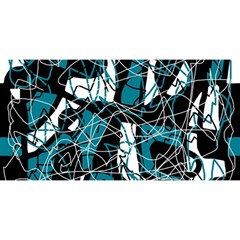 Blue, Black And White Abstract Art You Are Invited 3d Greeting Card (8x4)