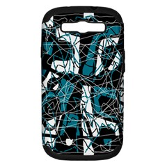 Blue, black and white abstract art Samsung Galaxy S III Hardshell Case (PC+Silicone) by Valentinaart