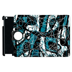 Blue, Black And White Abstract Art Apple Ipad 3/4 Flip 360 Case by Valentinaart