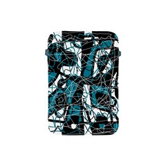 Blue, Black And White Abstract Art Apple Ipad Mini Protective Soft Cases by Valentinaart