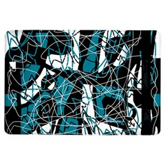 Blue, black and white abstract art iPad Air Flip by Valentinaart