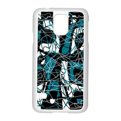 Blue, Black And White Abstract Art Samsung Galaxy S5 Case (white) by Valentinaart