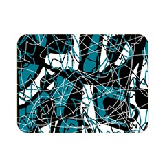 Blue, Black And White Abstract Art Double Sided Flano Blanket (mini)  by Valentinaart