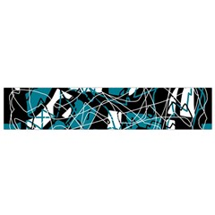 Blue, Black And White Abstract Art Flano Scarf (small) by Valentinaart