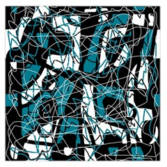 Blue, Black And White Abstract Art Large Satin Scarf (square) by Valentinaart