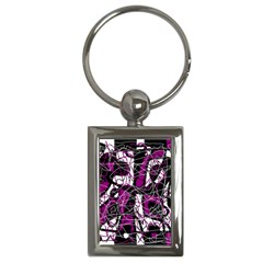 Purple, White, Black Abstract Art Key Chains (rectangle)  by Valentinaart