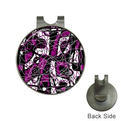 Purple, White, Black Abstract Art Hat Clips With Golf Markers by Valentinaart