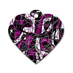 Purple, White, Black Abstract Art Dog Tag Heart (one Side) by Valentinaart