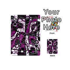 Purple, White, Black Abstract Art Playing Cards 54 (mini)  by Valentinaart