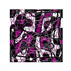 Purple, White, Black Abstract Art Small Satin Scarf (square) by Valentinaart