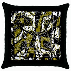 Brown Abstract Art Throw Pillow Case (black) by Valentinaart