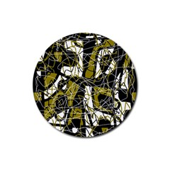Brown abstract art Rubber Coaster (Round)  by Valentinaart