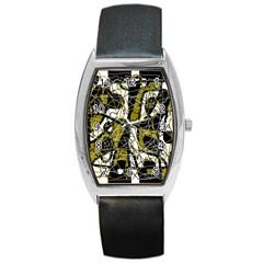 Brown Abstract Art Barrel Style Metal Watch by Valentinaart