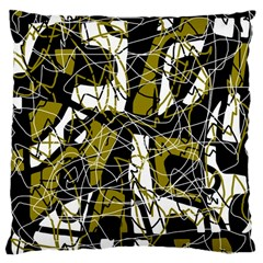 Brown Abstract Art Large Cushion Case (one Side) by Valentinaart