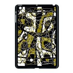 Brown abstract art Apple iPad Mini Case (Black) by Valentinaart