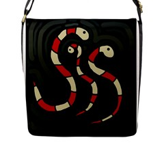 Red Snakes Flap Messenger Bag (l)  by Valentinaart