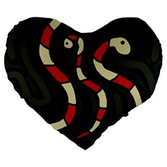 Red Snakes Large 19  Premium Flano Heart Shape Cushions