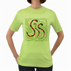 Snakes family Women s Green T-Shirt by Valentinaart
