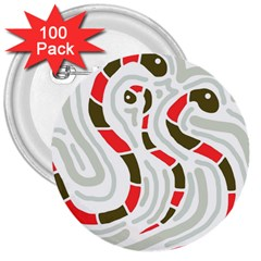 Snakes Family 3  Buttons (100 Pack)  by Valentinaart