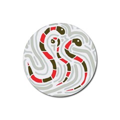 Snakes Family Rubber Round Coaster (4 Pack)  by Valentinaart