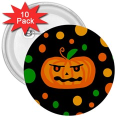 Halloween Pumpkin 3  Buttons (10 Pack)  by Valentinaart