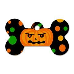 Halloween Pumpkin Dog Tag Bone (one Side) by Valentinaart