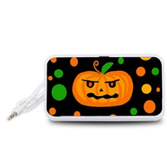 Halloween pumpkin Portable Speaker (White)  by Valentinaart