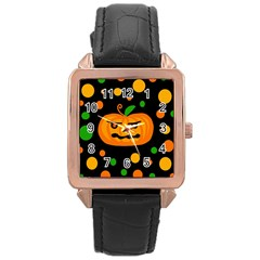 Halloween Pumpkin Rose Gold Leather Watch  by Valentinaart