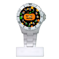 Halloween Pumpkin Plastic Nurses Watch by Valentinaart