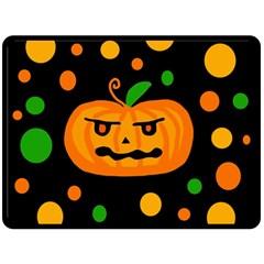 Halloween Pumpkin Double Sided Fleece Blanket (large)  by Valentinaart