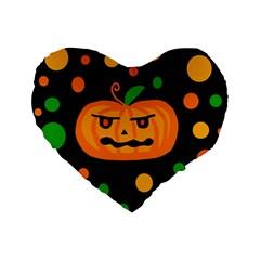 Halloween Pumpkin Standard 16  Premium Flano Heart Shape Cushions by Valentinaart