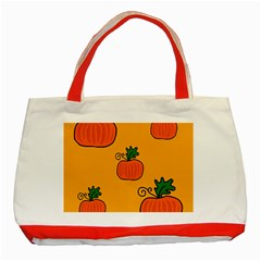 Thanksgiving Pumpkins Pattern Classic Tote Bag (red) by Valentinaart