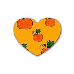 Thanksgiving Pumpkins Pattern Rubber Coaster (heart)  by Valentinaart