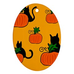 Halloween Pumpkins And Cats Ornament (oval)  by Valentinaart