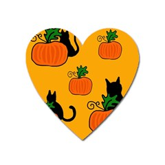 Halloween Pumpkins And Cats Heart Magnet by Valentinaart