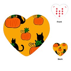 Halloween Pumpkins And Cats Playing Cards (heart)  by Valentinaart