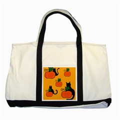 Halloween Pumpkins And Cats Two Tone Tote Bag by Valentinaart
