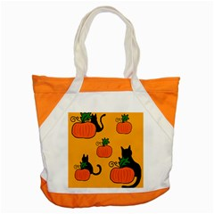 Halloween Pumpkins And Cats Accent Tote Bag by Valentinaart