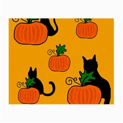 Halloween Pumpkins And Cats Small Glasses Cloth (2 Side) by Valentinaart