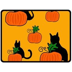 Halloween Pumpkins And Cats Fleece Blanket (large)  by Valentinaart