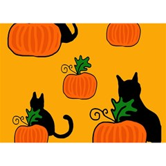 Halloween Pumpkins And Cats Birthday Cake 3d Greeting Card (7x5) by Valentinaart