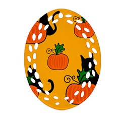 Halloween Pumpkins And Cats Ornament (oval Filigree)  by Valentinaart