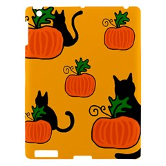 Halloween Pumpkins And Cats Apple Ipad 3/4 Hardshell Case by Valentinaart