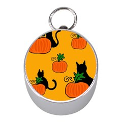 Halloween Pumpkins And Cats Mini Silver Compasses by Valentinaart