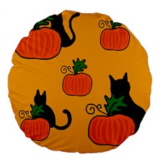 Halloween Pumpkins And Cats Large 18  Premium Flano Round Cushions by Valentinaart