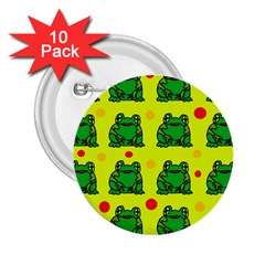 Green Frogs 2 25  Buttons (10 Pack)  by Valentinaart